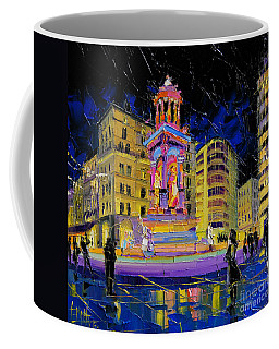 Jacobins Fountain During The Festival Of Lights In Lyon France  Coffee Mug