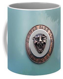 Coffee Mug featuring the photograph Jaguar Hood Emblem by Cheryl Hoyle
