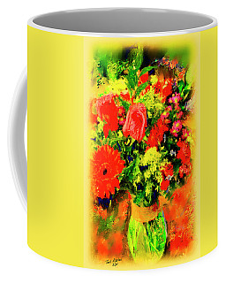 Coffee Mug featuring the painting J'aime Le Bouquet by Ted Azriel