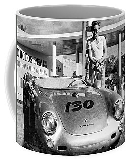 James Dean Filling His Spyder With Gas Black And White Coffee Mug by Doc Braham