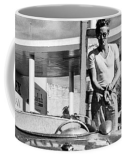 James Dean Filling His Spyder With Gas Black And White Coffee Mug