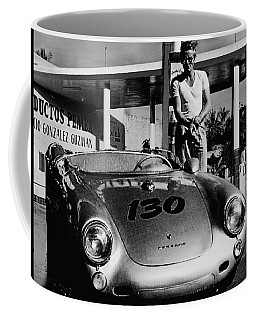 James Dean Filling His Spyder With Gas In Black And White Coffee Mug