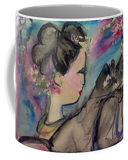 Japanese Lady And Felines Coffee Mug