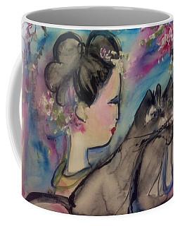 Japanese Lady And Felines Coffee Mug by Judith Desrosiers