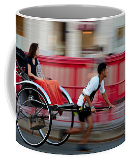 Japanese Tourists Ride Rickshaw In Tokyo Japan Coffee Mug