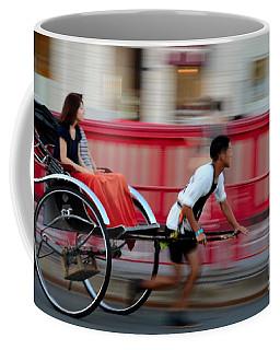 Japanese Tourists Ride Rickshaw In Tokyo Japan Coffee Mug