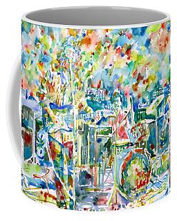 Jerry Garcia And The Grateful Dead Live Concert - Watercolor Portrait Coffee Mug