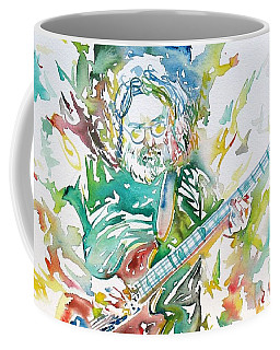 Jerry Garcia Playing The Guitar Watercolor Portrait.1 Coffee Mug