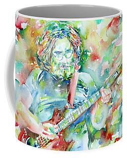 Jerry Garcia Playing The Guitar Watercolor Portrait.3 Coffee Mug