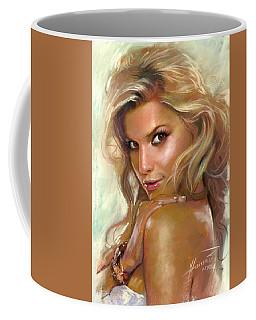 Coffee Mug featuring the drawing Jessica Simpson by Viola El