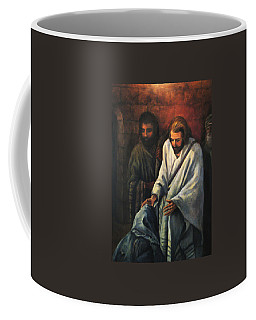Jesus Healing Beggar Coffee Mug by Donna Tucker