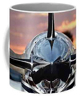 Airplane At Sunset Coffee Mug