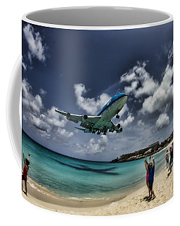 Jet Landing Over Maho Beach Coffee Mug