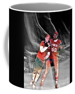 Coffee Mug featuring the photograph Jim Fitzpatrick Vs Charles Gipson Battling In Old School Roller Derby With The Sf Bay Bombers II by Jim Fitzpatrick
