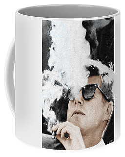 John F Kennedy Cigar And Sunglasses Coffee Mug by Tony Rubino