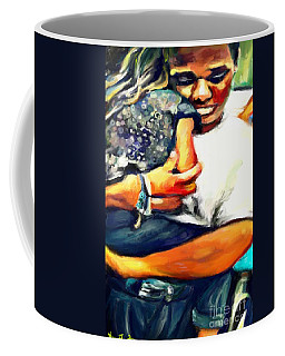 Coffee Mug featuring the painting Johnelle Saving The World One Child At A Time by Vannetta Ferguson