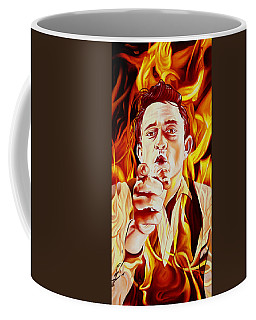 Coffee Mug featuring the painting Johnny Cash And It Burns by Joshua Morton
