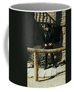 Coffee Mug featuring the photograph Johnny Cash Gunfighter Hitching Post Old Tucson Arizona 1971 by David Lee Guss