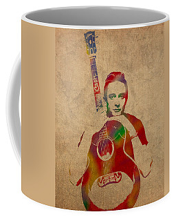 Johnny Cash Watercolor Portrait On Worn Distressed Canvas Coffee Mug