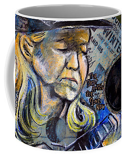 Johnny Winter Painted Guitar Coffee Mug by Fiona Kennard