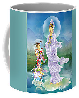 Coffee Mug featuring the photograph Joining Palms Kuan Yin by Lanjee Chee