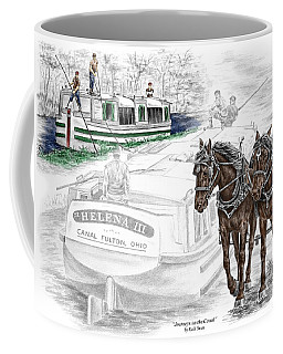 Journeys On The Canal - Canal Boat Print Color Tinted Coffee Mug