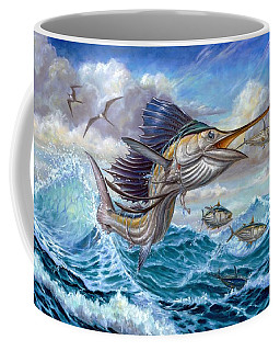 Jumping Sailfish And Small Fish Coffee Mug