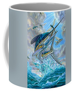 Jumping White Marlin And Flying Fish Coffee Mug