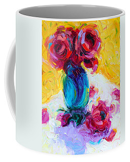 Coffee Mug featuring the painting Just Past Bloom - Roses Still Life by Talya Johnson