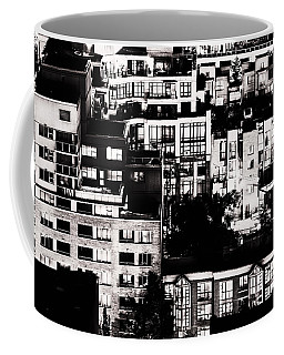 Coffee Mug featuring the photograph Black And White - Juxtaposed And Intimate Vancouver View At Night - Fineart Cards by Amyn Nasser