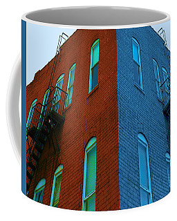 Coffee Mug featuring the photograph Juxtaposition - Old Building by Denise Beverly
