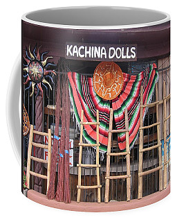 Coffee Mug featuring the photograph Kachina Dolls Local Store Front by Dora Sofia Caputo Photographic Art and Design