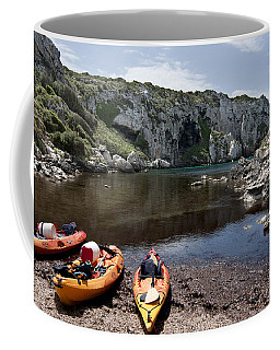 Kayak Time - The Landscape Of Cales Coves Menorca Is A Great Place For Peace And Sport Coffee Mug