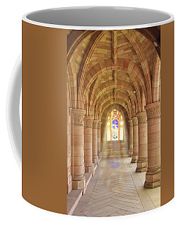 Coffee Mug featuring the photograph Kelso Abbey Stained Glass by Susan Leonard