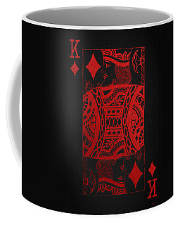 King Of Diamonds In Red On Black Canvas   Coffee Mug