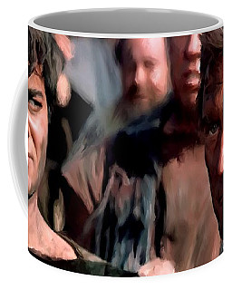 Kirk Douglas And Tony Curtis In The Film Spartacus Coffee Mug