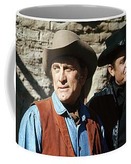 Coffee Mug featuring the photograph Kirk Douglas Johnny Cash A Gunfight  Old Tucson Arizona 1971 by David Lee Guss