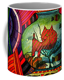 Kitty In A Fish Bowl - Abstract Cat Coffee Mug