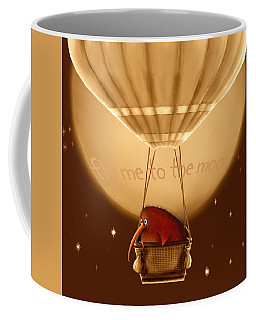 Kiwi Bird Kev - Fly Me To The Moon - Sepia Coffee Mug