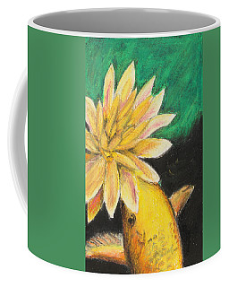 Coffee Mug featuring the painting Koi And The Lotus Flower by Jeanne Fischer