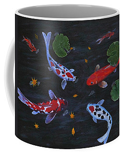 Koi Fishes Original Acrylic Painting Coffee Mug