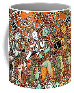 Coffee Mug featuring the painting Krishna And Radha by Pg Reproductions