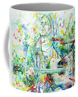 Kurt Cobain Playing The Guitar - Watercolor Portrait Coffee Mug