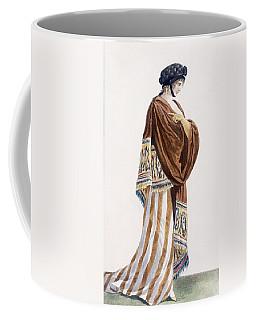 Ladies Dress With Velvet Shawl Coffee Mug