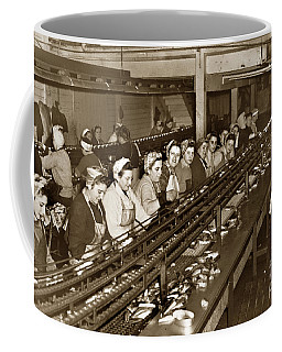 Ladies Packing Sardines In One Pound Oval Cans In One Of The Over 20 Cannery's Circa 1948 Coffee Mug