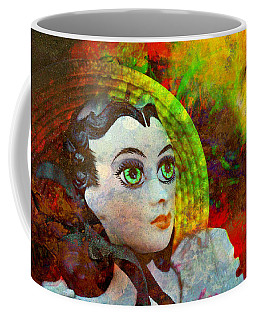Coffee Mug featuring the mixed media Lady In Red by Ally  White