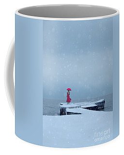 Lady In Red On Snowy Pier Coffee Mug by Jill Battaglia