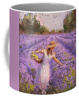 Woman Picking Lavender In A Field In A White Dress - Lady Lavender - Plein Air Painting Coffee Mug by Karen Whitworth