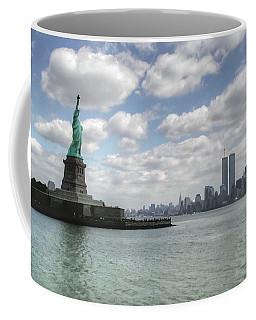 Lady Liberty And New York Twin Towers Coffee Mug