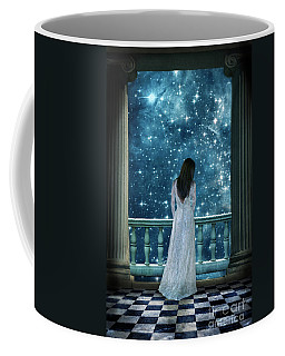 Lady On Balcony At Night Coffee Mug